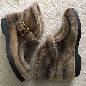 Vintage Faux Fur Ankle Snow Boots